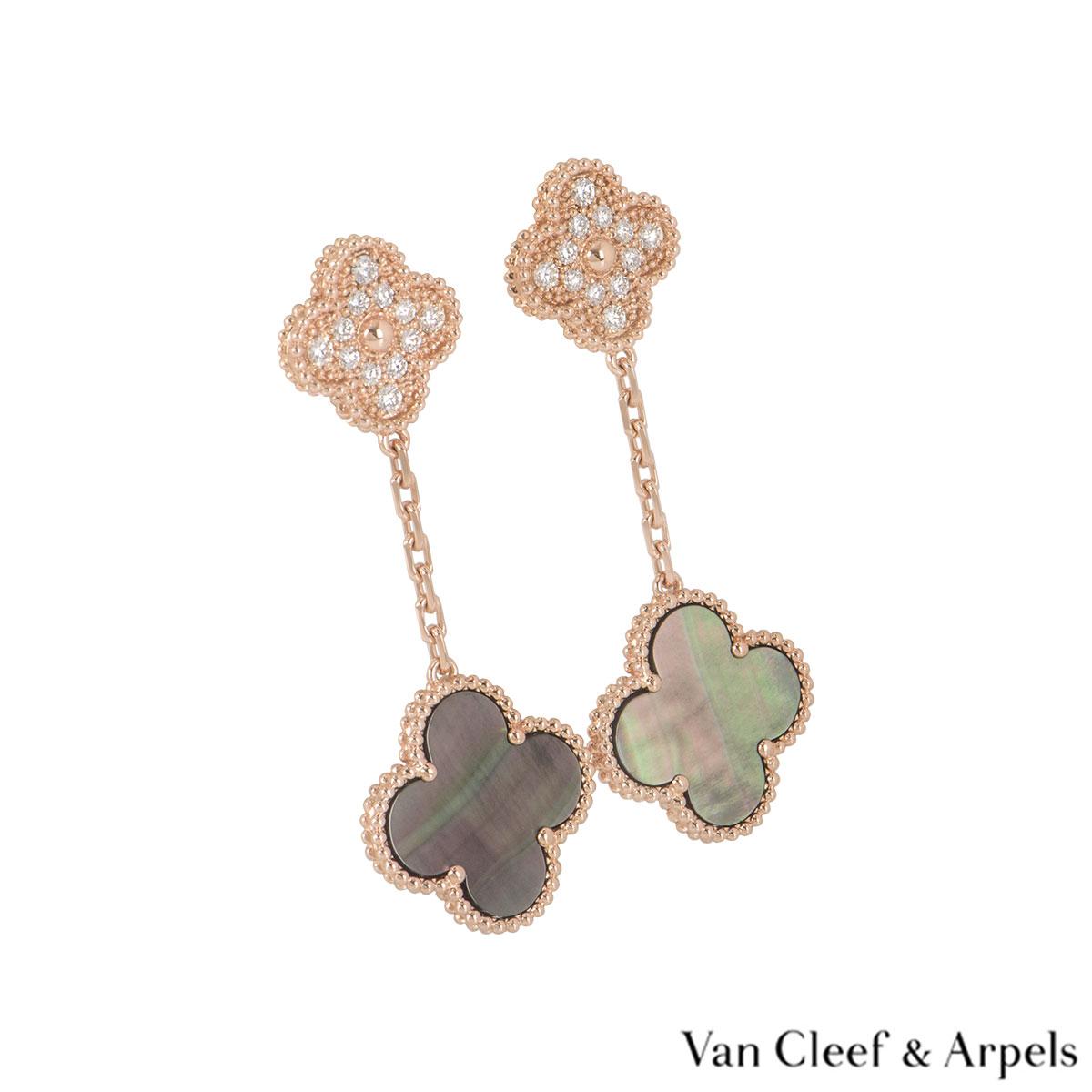 Van Cleef & Arpels Rose Gold Diamond Magic Alhambra Earrings